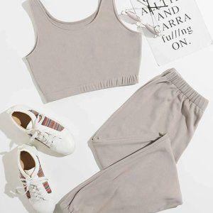 Shein   Crop Top & Sweat Pants Lounge Set
